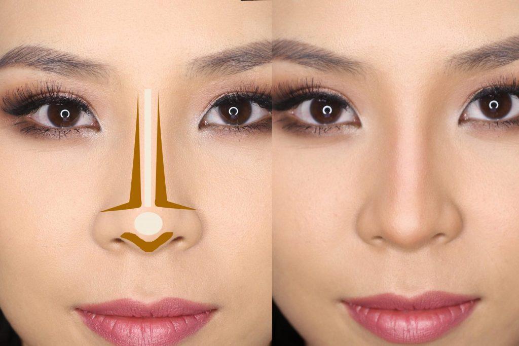 maquiagem, truque de maquiagem, afinar o nariz